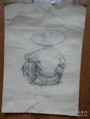 ●名家原始画稿:《著名版画家(林军)速写作品四幅》【1957年—1960年原稿尺寸40X30公分X4幅】!