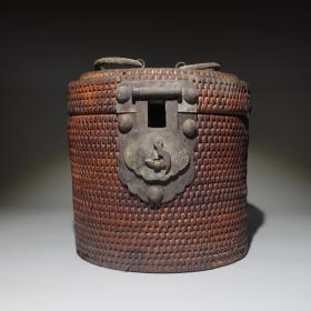 清代藤编茶笼精品茶壶保温桶古玩民俗茶文化收藏