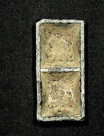 解放初期建设银行柜台用品  数钱时用于装湿海绵的铅器皿