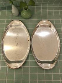 西洋 欧洲古董 餐具 镀银 盘子两个一对 34x21cm