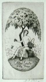 """德国艺术大师""""Philipp, Martin E. (1887-1978) """"蚀刻人体藏书票 —《树下的裸女》 签名 1920"""