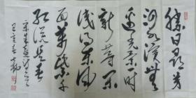 【保真】书法家七柳草书作品:朱熹《春日》