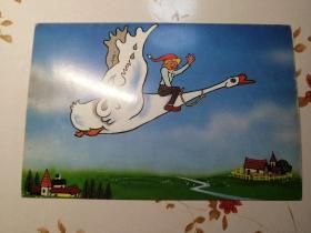 儿童喜爱的电视连续剧明信片(尼尔斯骑着天鹅在天空中飞翔)