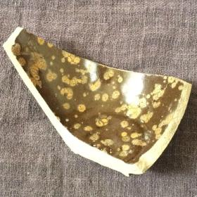 吉州窑酱釉金油滴盏连底瓷片