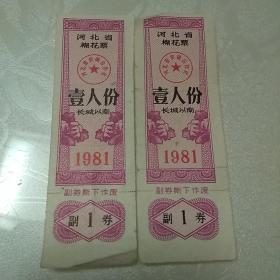河北省棉花票1981(一人份。长城以南)。两张合售