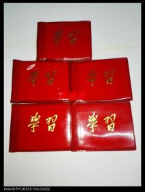 红塑料皮:学习 七八十年代空白日记本,5本合售(库存本)