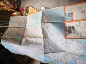 买满就送 两张折叠的日本地图 大坂东京旅行地图 关西道路地域图