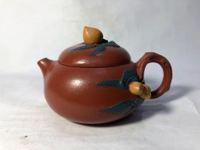 三色桃枝叶朱泥紫砂小品壶