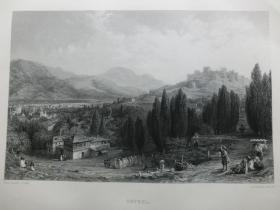【百元包邮】1863年钢版画《士麦那城景观》(smyrna)纸张尺寸32.3×23.6厘米(货号201351)