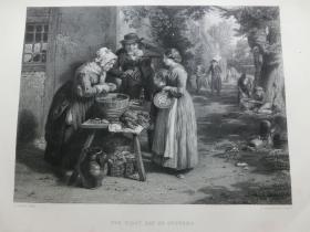 【百元包邮】1863年钢版画《新鲜牡蛎》(the first day of oysters)纸张尺寸32.3×23.6厘米(货号201352)
