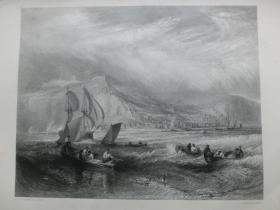 【百元包邮】1863年钢版画【透纳作品】《在黑斯廷斯港口外捕鱼的渔船》(line fishing off hastings)纸张尺寸32.3×23.6厘米(货号201354)
