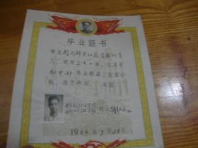 华东钫织工学院 干部业余文化学校 毕业证书<<校长谢天民签>>