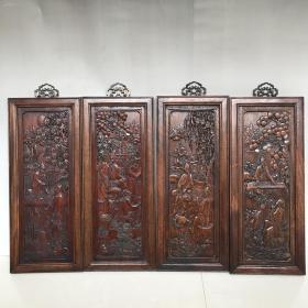 花梨木四条屏 装饰墙屏木雕挂屏琴棋书画