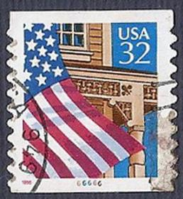 外国邮票-美国国旗和阳台32美分,卷筒好信销邮票