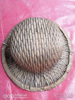 解放初期,工人上班佩戴的安全帽,柳条编的安全帽一顶,品相如图