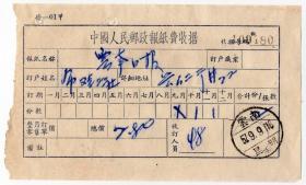 邮电和电信单据类-----1957年云南昆明,邮政报纸费收据480