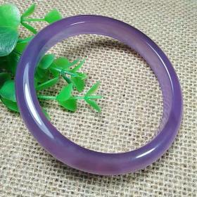 时尚潮流冰润帝王紫玛瑙手镯 典雅高贵紫玛瑙手镯