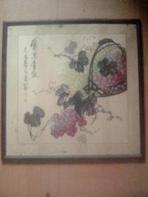 """开封""""王自重(人称河南葡萄王)""""已丑(2009)年斗方画"""