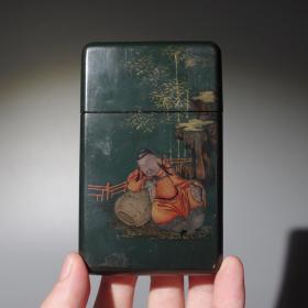 古玩名片盒收藏精品民国漆器名片盒老旧漆器收藏手工人物山水漆画