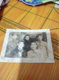 老照片【4男1女】临别留念1951年10月5