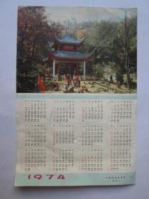 1974年年历画片(红小兵在公园里演出)——上海书画社出版