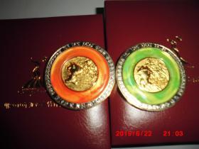广州2010亚运会特许商品:(阿如 阿意币型纪念章)币型纪念章两枚