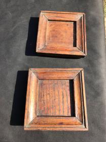 民国时期 木质茶托 榫卯结构 一对 比较厚 很特殊的老茶具