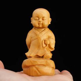 乐清黄杨木雕精品/禅意小沙弥/寓意福气安康心平气和