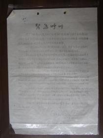 文革油印传单:南京华电赤卫队纵队紧急呼吁