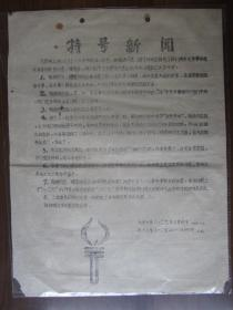 文革油印传单:特号新闻——由陶铸同志、谭震林同志接见了我们南京大学革命造反派赴京代表(南京大学八·二七革命串联会印)