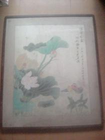 """""""女画家陈玉娣""""2005年荷花鸳鸯挂轴"""