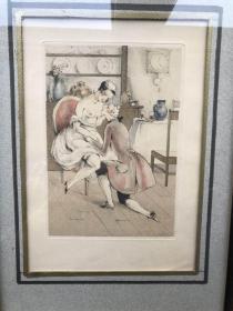近代西洋情色蚀刻版画 卢克拉法奈特  1935年手工着色版画2幅  法国巴黎