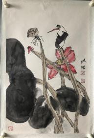 (3周年店庆优惠,买3幅加送1幅。)陕西 江文湛独立枝头。省诗词学会会长收藏作品流出,画面有收藏章,介意慎购。