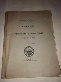 1905年的英文地质书 MONOGRAPHS OF THE UNITED STATES GEOLOGICAL SURVEY VOLUME XLVIII---Part II--PLATES