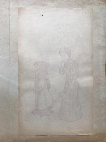 民国有正书局木版水印信笺----------美人图---之5