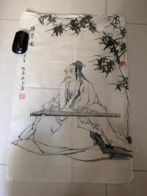 中国美协会员 高级工艺美术师 吴门著名画家 张晓飞 ——《抱琴图》 人物精品(保真)