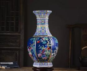 景德镇仿古董陶瓷器珐琅彩花瓶新中式乾隆客厅装饰品六方玄关摆件