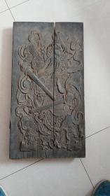 大型清代木质门神