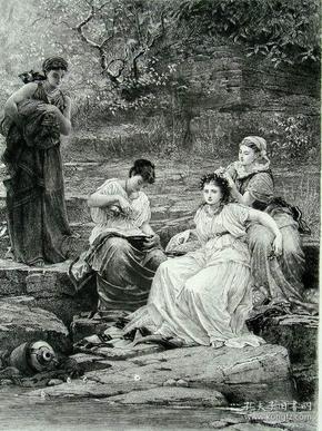 """1886年铜版蚀刻版画《娜莎和她的女儿》——英国画家""""乔治·邓禄普莱斯利""""George Dunlop Leslie (1835–1921) 尺寸:32x24cm"""