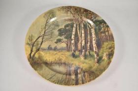 西洋 欧洲 装饰盘 挂盘 奥地利 画家 Karl. Schuster 手绘 42cm 池塘 1920年