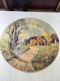 西洋 欧洲 装饰盘 挂盘 奥地利 画家 Karl. Schuster 手绘 42cm 小路 1920年