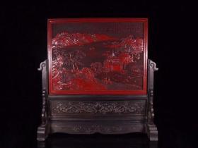 剔红漆器山水人物故事插屏规格:高48cm 宽46.5**19cm 主屏:长41.2cm 宽31.1cm 厚1.3cm 重7斤