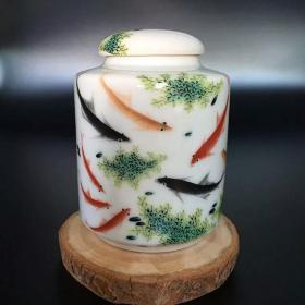 珍品民国茶叶罐古董粉彩古瓷器收藏摆件吉祥玄关九鲤鱼