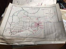 老的手绘地图 上海市食品进出口公司,(南区仓储加工整理部)(基层仓库)市内分布图3张