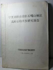 宁夏回族自治区石嘴山地区高岭石的开发研究报告