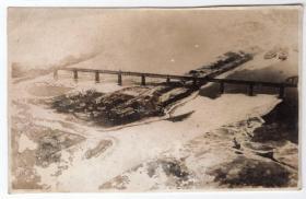 民国报纸图片类----民国原版老照片--1934年前后时间, 东北哈尔滨,滨北线,三棵树松花江铁路大桥(东江桥)照片