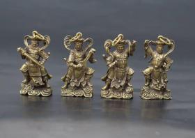 黄铜四大天王小摆件实心铜微雕佛像挂件铜手把药匙扣袖珍铜器