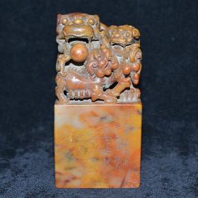 寿山精品芙蓉三色石事事如意狮子印章摆件闲章