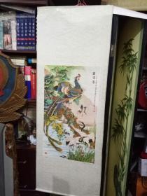 《凤鹤鸳鸯》(工笔画)天津十大国画大师姚景卿作品(八十年印刷品)天津杨柳青书画社