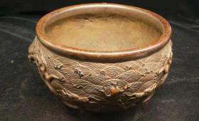 乡下收到明清时期老紫铜龙头香炉